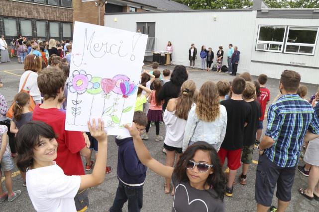 Les élèves de l'école primaire Saint-Vincent-Ferrier, dans le... (Janick Marois)