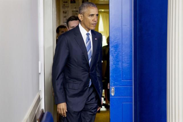À sept mois de son départ, M.Obama, qui... (PHOTO JACQUELYN MARTIN, AP)