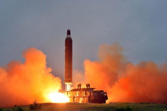 Lancement d'un missile nord-coréen.... (Photo Reuters)