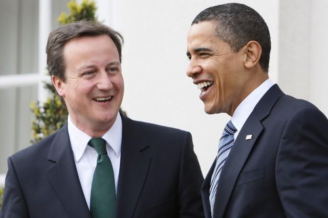 David Cameron, alors chef du Parti conservateur, et... (AP, Charles Dharapak)