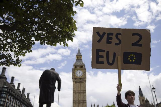 Devant le parlement britannique, un jeune manifestant a... (AFP, JUSTIN TALLIS)