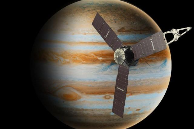 Juno a commencé à transmettre et recevoir des... (IMAGE FOURNIE PAR LA NASA)