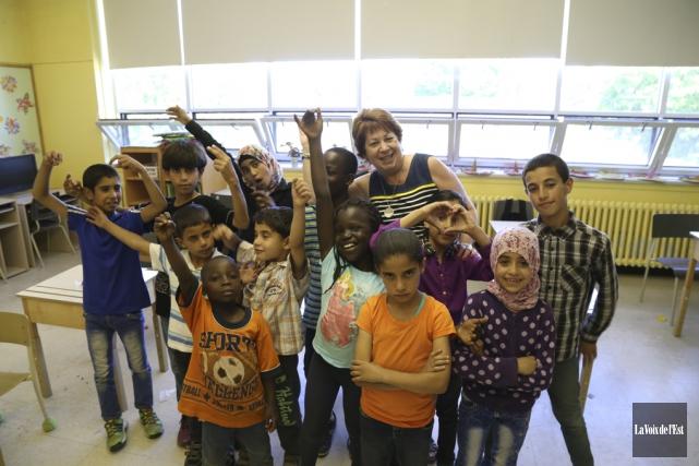 La classe d'accueil de Madame Chantal, à l'école... (Janick Marois, La Voix de l'Est)