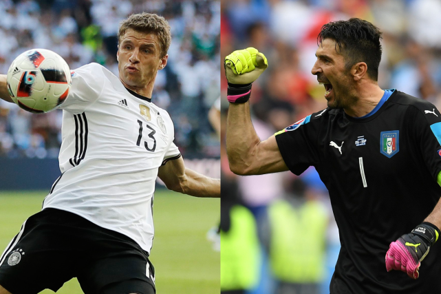 L'attaquant allemand Thomas Müller et le gardien italienGianluigi... (PHOTOS AP et AFP)