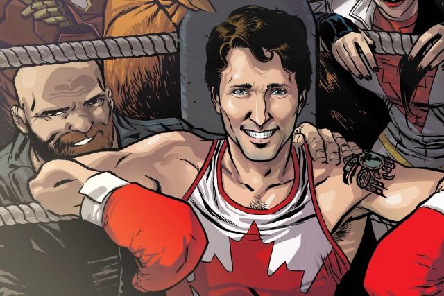 Justin Trudeau est illustré en boxeur, en référence... (La Presse Canadienne/HO, Ramon Perez)