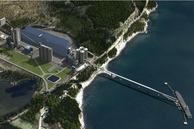 Simulation 3D de la cimenterie de Port-Daniel-Gascons.... (Illustration fournie par Groupe CNW)
