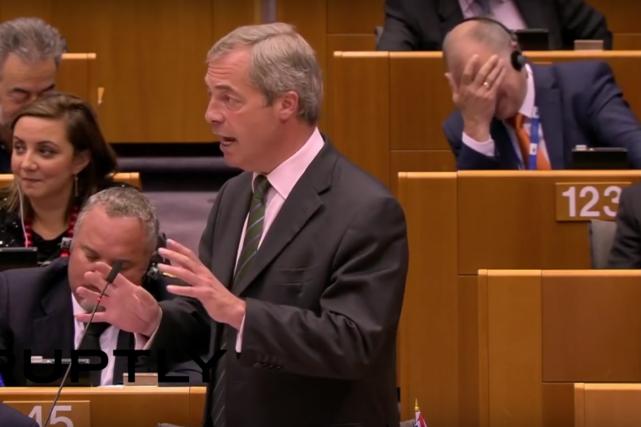 Nigel Farage, chef du parti eurosceptique UKIP à... (photo : saisie d'écran Télédiffusion des débats Assemblée européenne)