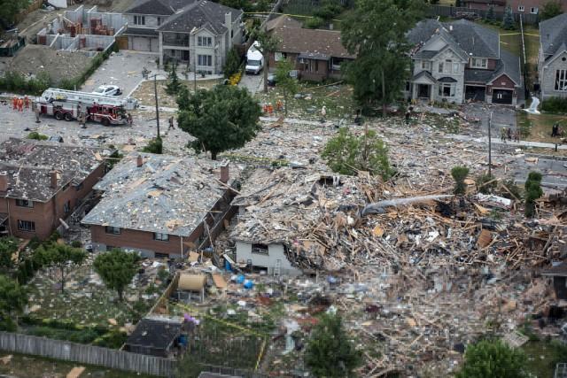 La maison à l'épicentre de la déflagration a... (PHOTO Eduardo Lima, La Presse Canadienne)