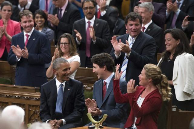 Barack Obama en compagnie de Justin Trudeau et... (Justin Tang, La Presse Canadienne)