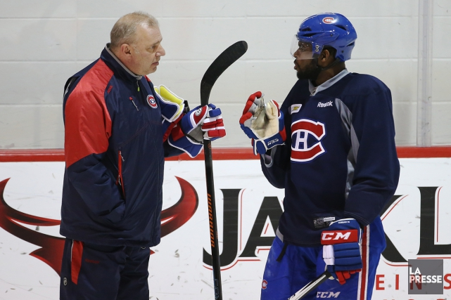 Michel Therrien et P.K. Subban durant un entraînement... (Photo Martin Chamberland, archives La Presse)