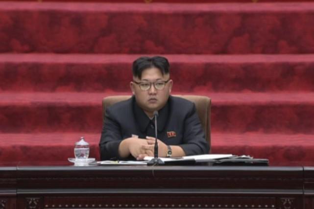 Kim Jong-Un lors d'une assemblée àPyongyang, mercredi.... (PHOTO NKO / AP)