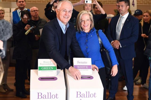 Le premier ministre sortant, Malcolm Turnbull (qui est... (AFP, WILLIAM WEST)