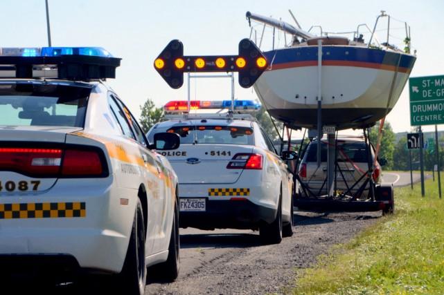 Les policiers du poste autoroutier de la MRC deDrummondont procédé, jeudi, à... (Photo collaboration spéciale Éric Beaupré)