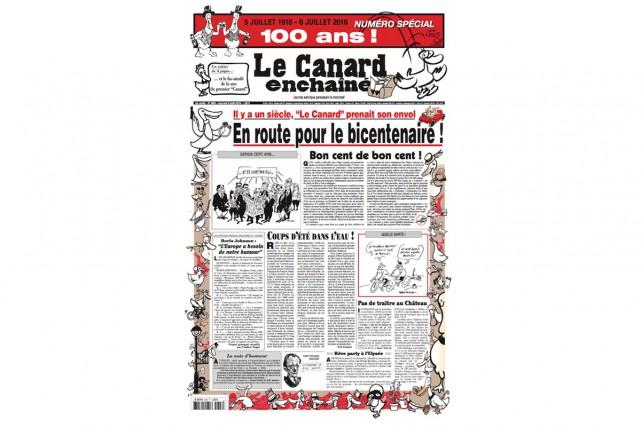«En route pour le bicentenaire!», titre Le canard enchaîné en Une de... (CAPTURE D'ÉCRAN)