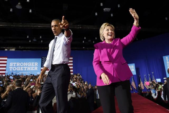 «Je crois en Hillary Clinton», a lancé M.Obama... (PHOTO Susan Walsh, AP)