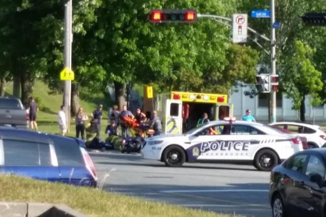 Un motocycliste a subi des blessures, jeudi en début de soirée, dans l'est de... (Courtoisie, Geneviève Giroux)