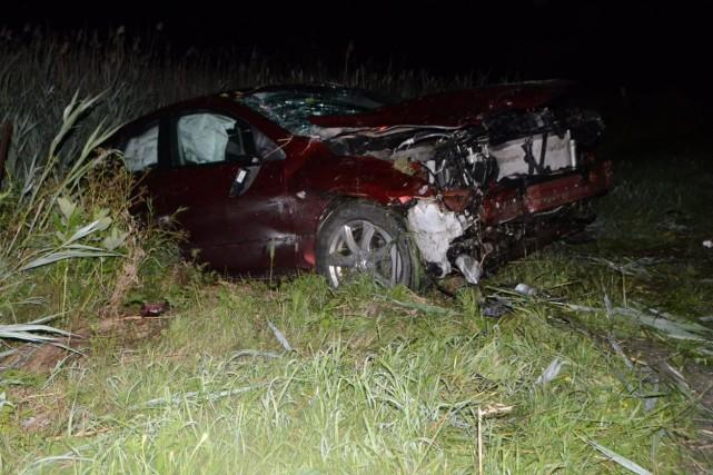 La voiture a été retrouvée en bordure de... (Photo collaboration spéciale Éric Beaupré)