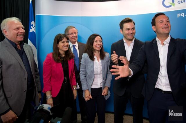Les candidats à la direction du PQ lors... (Archives La Presse)