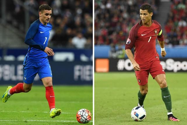 Les retrouvailles entre Griezmann (à gauche) et Ronaldo... (PHOTOS AFP)