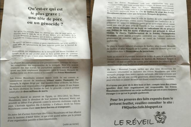 Une copie de la lettre qui a été... (Fournie par le SPVQ)