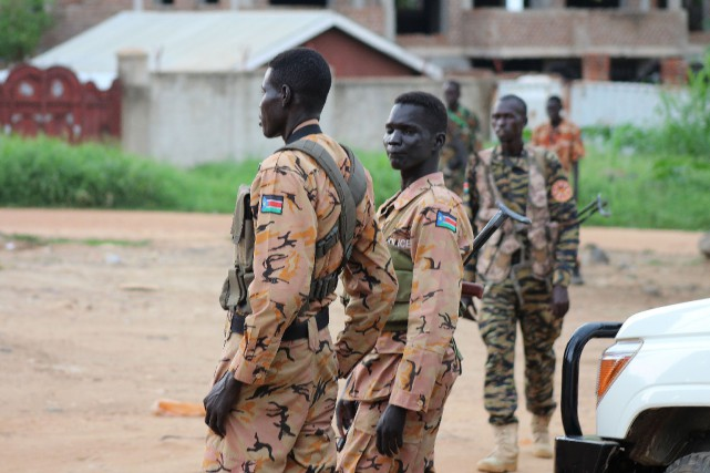 Des soldats sud-soudanais à Juba.... (Photo Reuters)