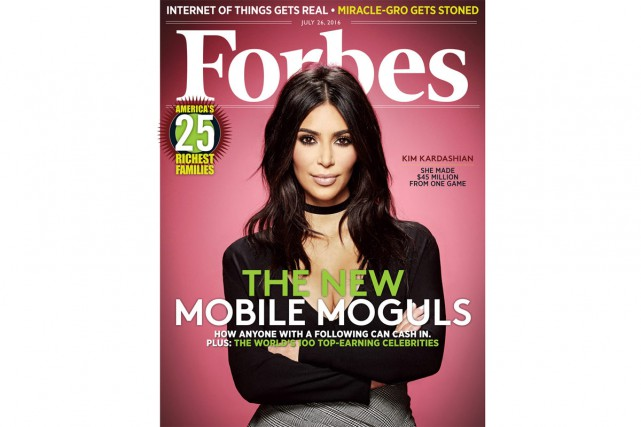 Kim Kardashian a engrangé 45 millions avec l'application Kim Kardashian - Hollywood.... (PHOTO FOURNIE PAR FORBES)