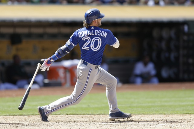 Josh Donaldson a brisé l'égalité contre son ancienne... (Ben Margot, The Associated Press)