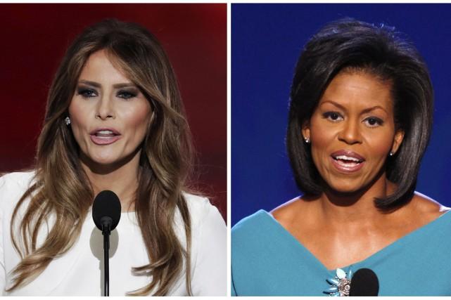Melania Trump, à gauche, la femme du républicain... (AP)