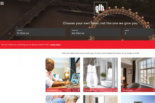 Le groupe hôtelier glh vient de lancer Choose Your Own Room, le premier site de... (CAPTURE D'ÉCRAN)