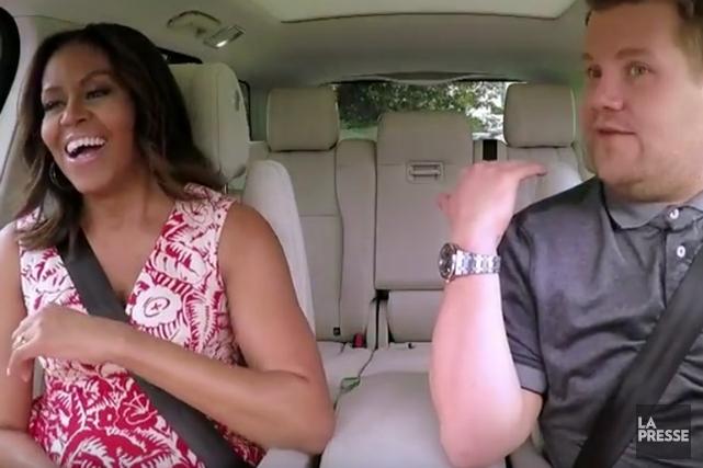 Michelle Obama s'est prêtée au formatCarpool Karaokepopularisé par... (image tirée de la vidéo/youtube)
