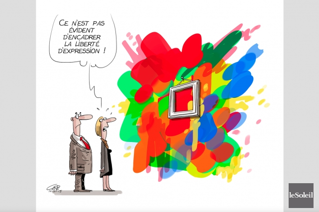 L'oeuvreLiberté d'expressiona valu à notre caricaturiste,... (Le Soleil, André-Philippe Côté)