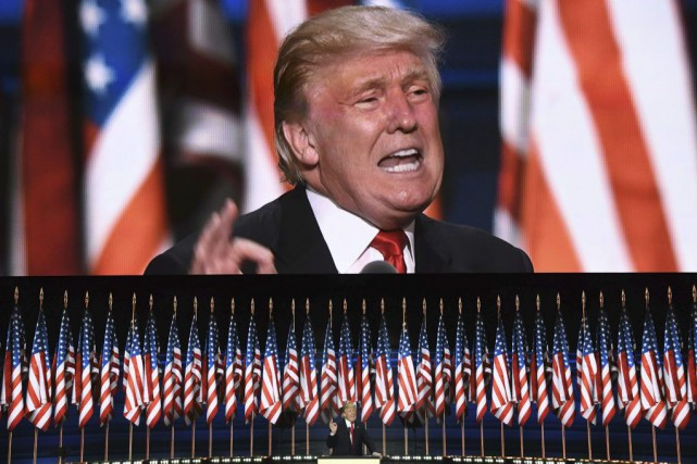 Donald Trump lors de son discours à la... (PHOTO JIM WATSON, AFP)