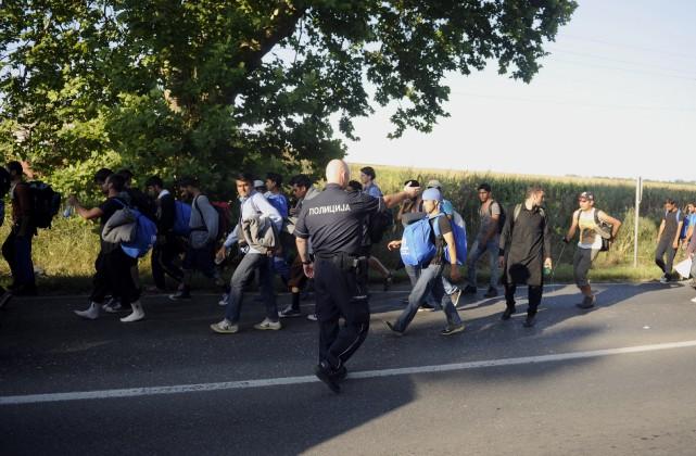 Les migrants sont partis de de Belgrade sous... (AFP)