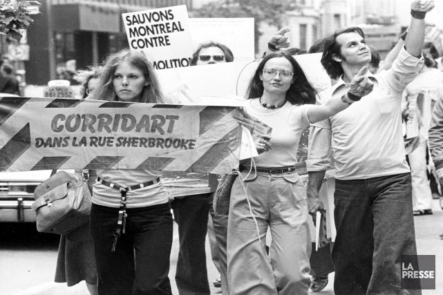 Manifestation contre le démantèlement de Corridart par l'administration... (Archives, La Presse)