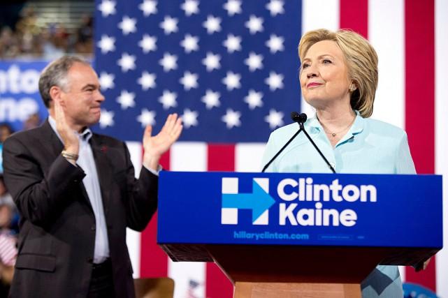 Hillary Clinton et Tim Kaine, lors d'un discours...