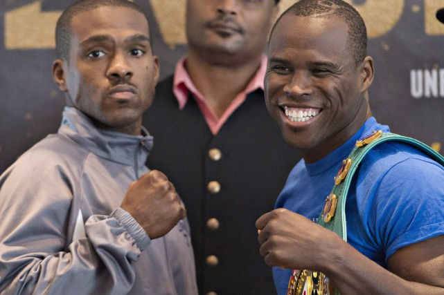 Adonis Stevenson (à droite) et Thomas Williams fils lors... (photo Jacques Boissinot, pc)
