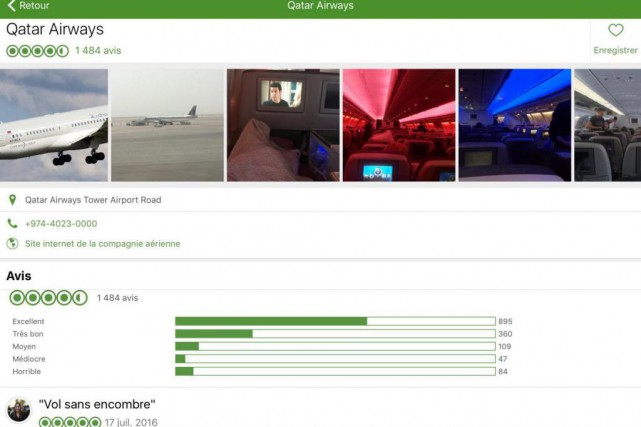 Le site TripAdvisor permet désormais aux voyageurs d'évaluer... (Capture d'écran de l'application de TripAdvisor)
