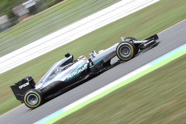 Avec cette victoire, Lewis Hamilton augmente son avance... (AP, Jens Meyer)