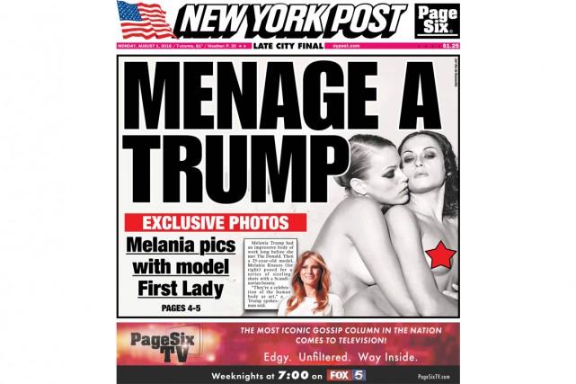 La photo montre Melania Trump serrant dans ses... (IMAGE TIRÉE DU COMPTE TWITTER DU NEW YORK POST)