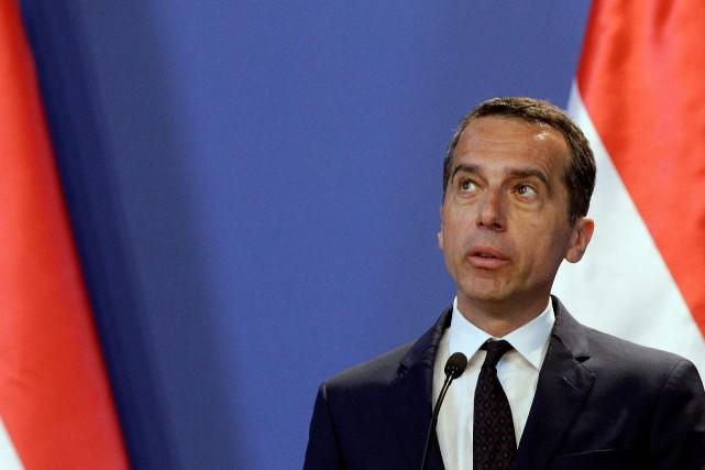 Le chancelier autrichien Christian Kern lors d'une conférence... (Photo PETER KOHALMI, AFP)