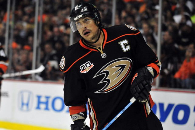 Teemu Selanne avec les Ducks d'Anaheim en 2014.... (Photo Gary A. Vasquez, USA Today Sports)