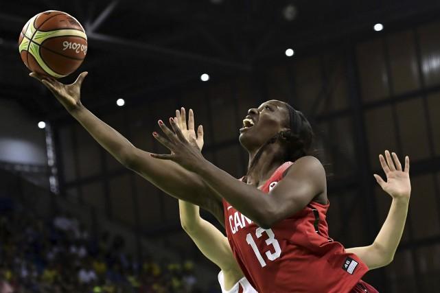 La Canadienne Tamara Tatham a amassé 20 points... (AFP, JAVIER SORIANO)