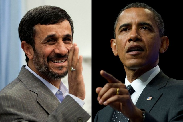 Mahmoud Ahmadinejad et Barack Obama... (Photos archives Reuters et AFP)