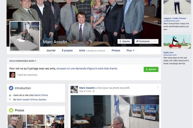 Un faux compte Facebook au nom du maire d'Alma, Marc Asselin, est présentement... (Courtoisie)