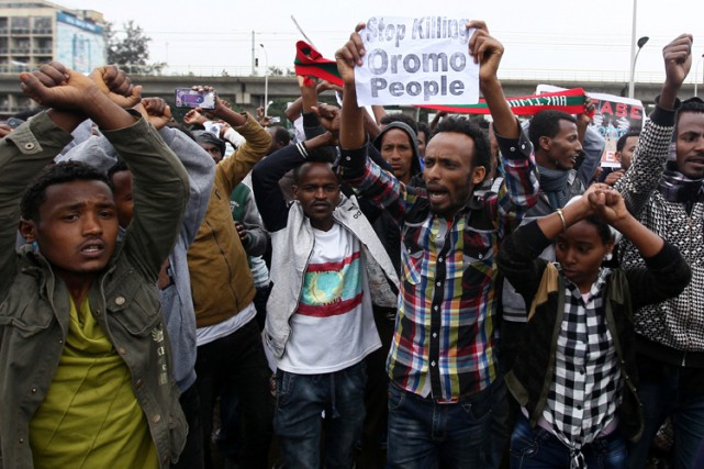 À Addis Abeba, environ 500 manifestants oromo s'étaient... (PHOTO REUTERS)