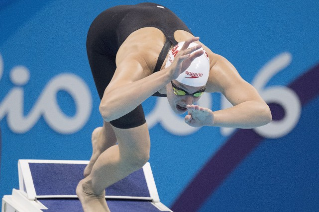 La nageuse canadienne Penny Oleksiak... (Photo Frank Gunn, La Presse Canadienne)
