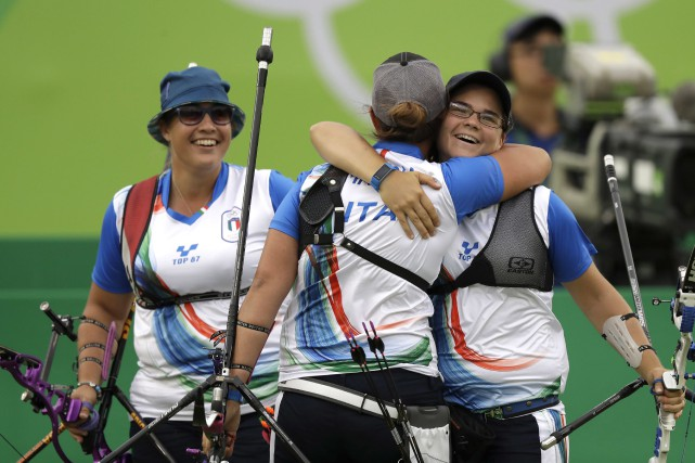 Les Italiennes Guendalina Sartori, Claudia Mandia etLucilla Boari... (AP, Natacha Pisarenko)