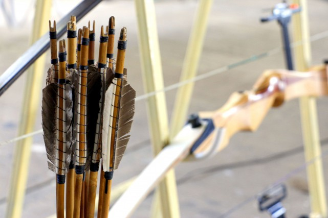 31287489 - wooden bows and arrows for archery...