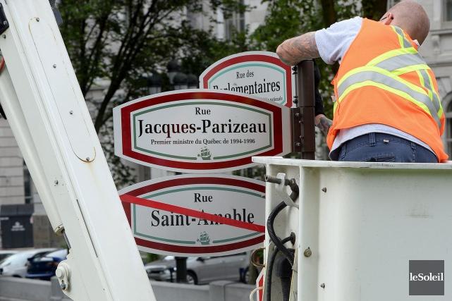 La rue Saint-Amable est devenue la rue Jacques-Parizeau,... (Le Soleil, Erick Labbé)