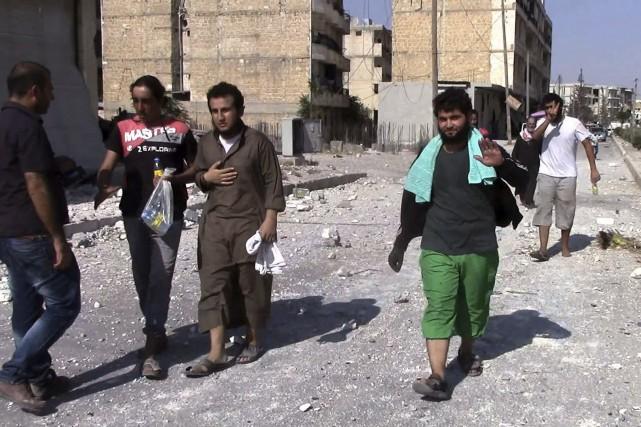 Enlevés la veille par les djihadistes de l'État... (AFP)